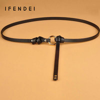 IFENDEI Belt Female First Layer Leather Rivets Waist Chain Thin Belts Wild Skirt Decorated Casual Tide
