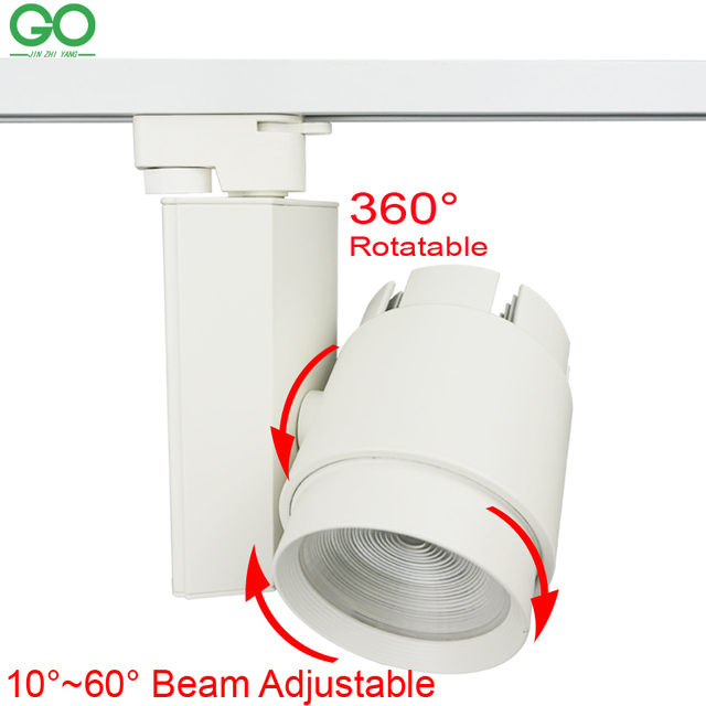 LED Track Lights 30W COB 130-140lm/W Adjustable Beam Angle Rail Lamp For Kitchen Gallery Clothes Shoes Shop Store Track Lighting