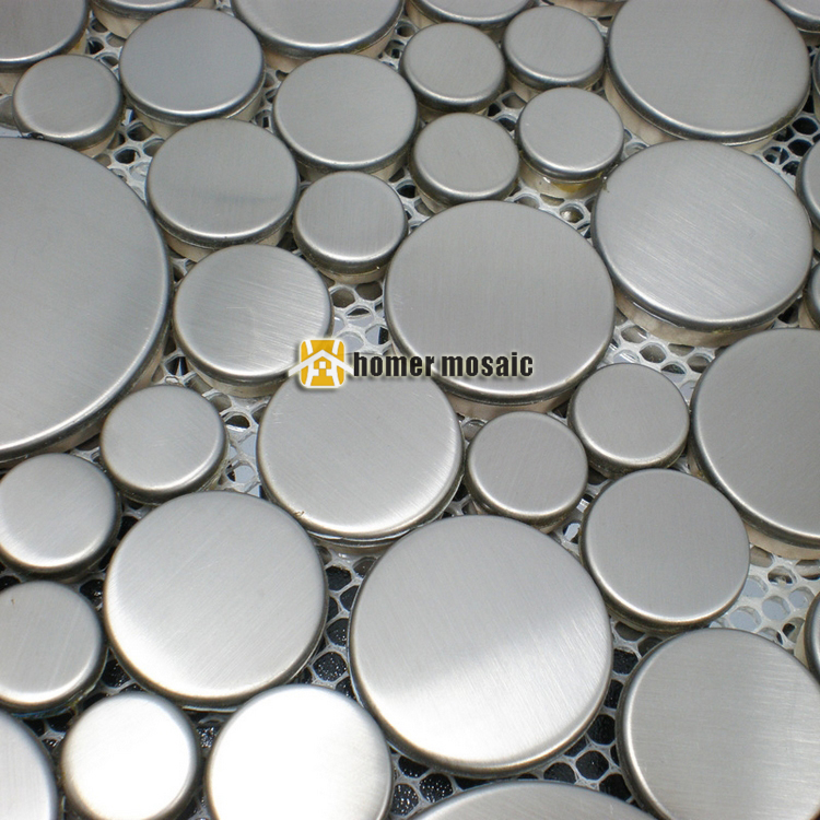 lovely small and big round brushed finished silver color stainless steel metal mosaic tiles for living