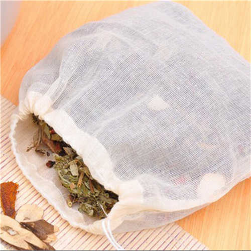 10Pcs Cotton Tea Bags Muslin Drawstring Straining Bag for Tea Herb Bouquet Spice 8x10cm Coffee Pouches Tools