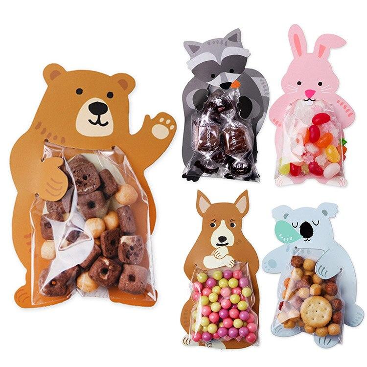 10Pcs/lot Cartoon Animal Bear Rabbit Card Candy Packaging Transparent Plastic Bag Wedding Party Decor Kids Birthday Shower