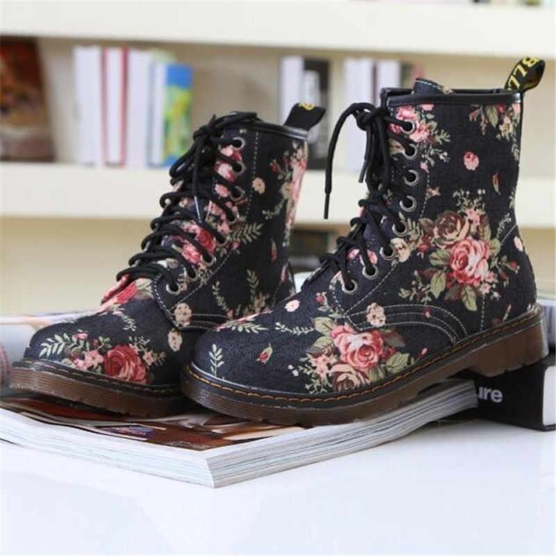 Yüksek Kaliteli Bayan Botları 2019 Yeni Moda Zarif Çiçek Çiçek Baskı Çocuklar Ayakkabı Kadın Botları Rahat Dantel Bayan Botları