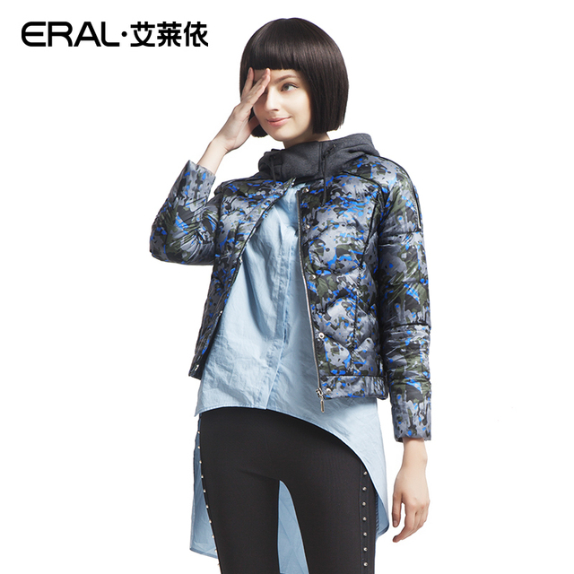 ERAL 2016 New Arrival Winter Women's Slim Stand Collar Hood Casual Short Down Jacket Female Coat Outerwear  ERAL2040D