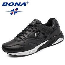 Bona new calssice style 남성 운동화 레이스 업 남성 운동화 야외 조깅 스니커즈 신발 편안한 무료 배송