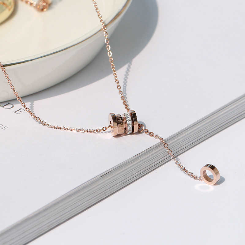 YUN RUO 2019 New Rose Gold Color Fashion Roman Crystal Column Pendant Necklace Titanium Steel Jewelry Woman Birthday Never Fade
