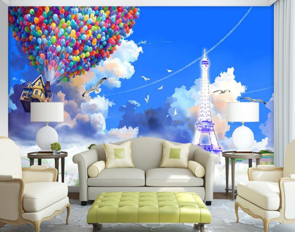 3D Wallpaper Home Decor balloon Wallpaper For Walls 3 D Living room Bedroom 3D Mural Wallpaper Blue Sky And White Clouds blue earth cosmic sky zenith living room ceiling murals 3d wallpaper the living room bedroom study paper 3d wallpaper