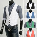 New 2014 Spring 5 Color Men Suit Vest Slim Fit Mens Casual Waistcoat Business Jacket Tops 3 Buttons Free Shipping M-XXL