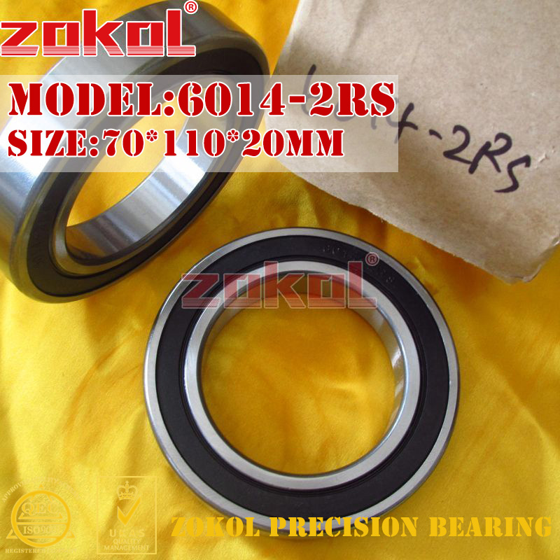 ZOKOL 6014RS bearing 6014 2RS 180114 6014-2RS Deep Groove ball bearing 70*110*20mm zokol bearing 6017 2rs 180117 deep groove ball bearing 85 130 22mm