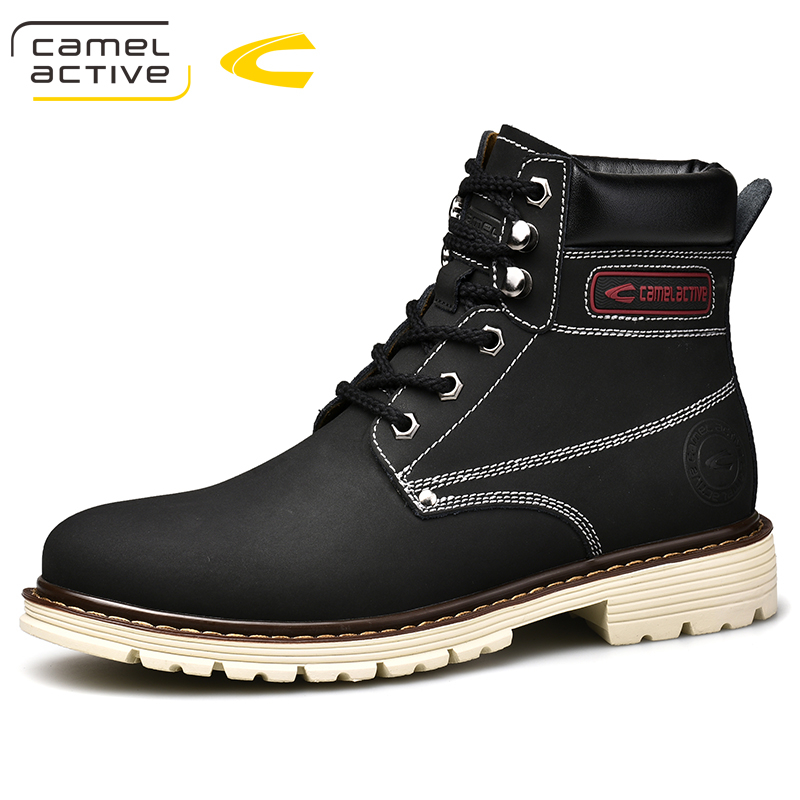Camel Active New Men Boots Split Leather Ankle Boots Men Western Boots Lace-Up Fashion Martin Boots Men Footwear цена