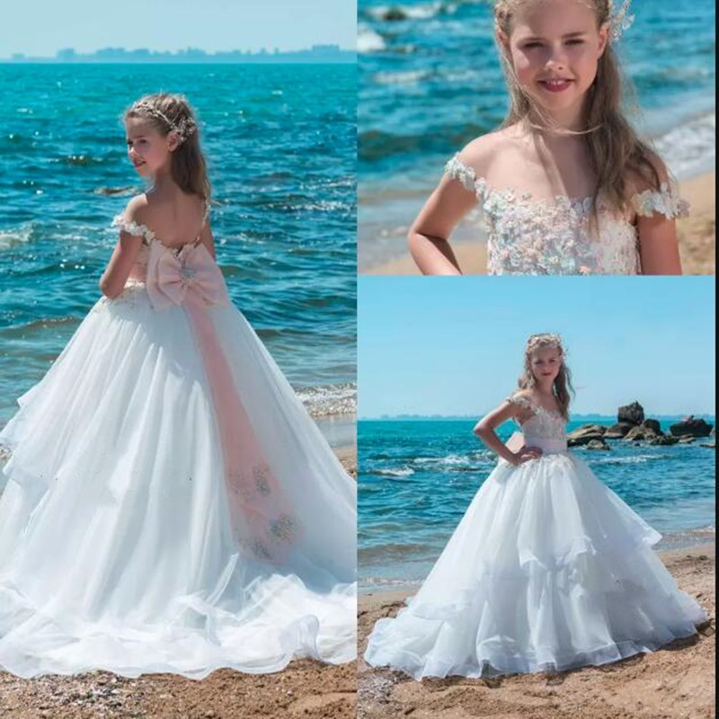 Flower Girl Beach Wedding Dresses: 2019 Luxury Girls Pageant Dresses For Teenagers Cap