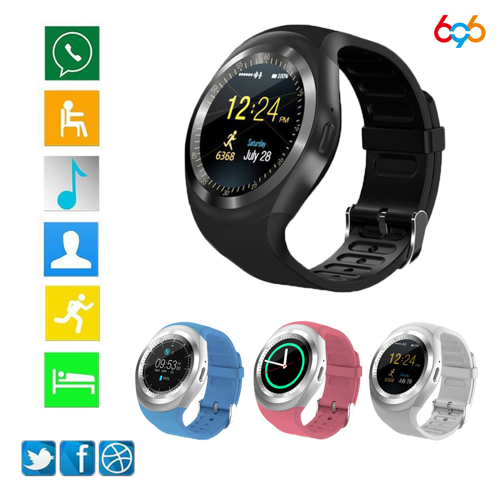 696 Y1 Slimme Waaks Ronde Ondersteuning Nano SIM & TF Card Met Whatsapp En Facebook Mannen Vrouwen Business Smartwatch Voor android Telefoon