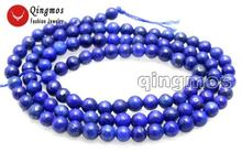 Круглые синие Бусины qingmos 4 мм из натурального лазурита для