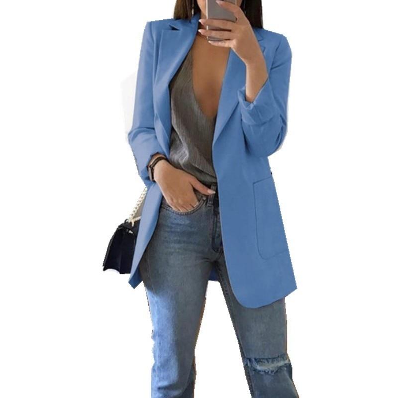 Blazer Feminino Casual Plus Size Womens Tops Oversize Cardigan Temperament Long Sleeve Solid Color Turn-down Collar Coat