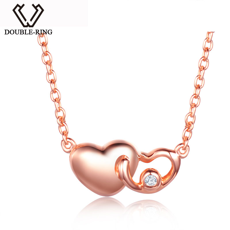 DOUBLE-R Heart Necklaces Women 0.01ct Diamond Plated Real Rose Gold 18k 925 Sterling Silver Pendant Brand Jewelry rose gold plated oval ribbon necklaces anti allergic