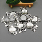 10sets/lot Fit 20mm 25mm Antique Silver Alloy owl diy Cameo base Setting Pendant+Clear Glass Cabochons Beads Jewelry finding