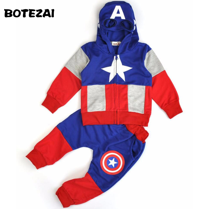 2017 New Fashion Anime Style Children Set Baby Boy Sport Sets Suit Cartoon Captain America Hoodie Sweater + pants boys Clothes 2pcs set baby clothes set boy