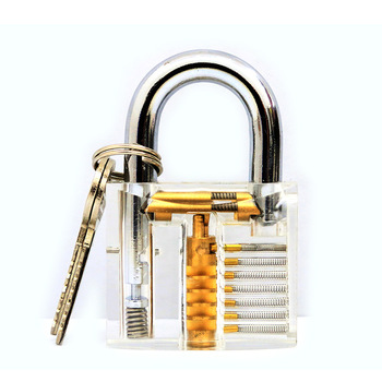 Padlock Lock Training Skill Pick View Padlock Cutaway Inside View Of Practice Transparent For Locksmith With Smart Keys 6pcs set transparent visible cutaway practice padlock door lock pick training skill for locksmith cerradura