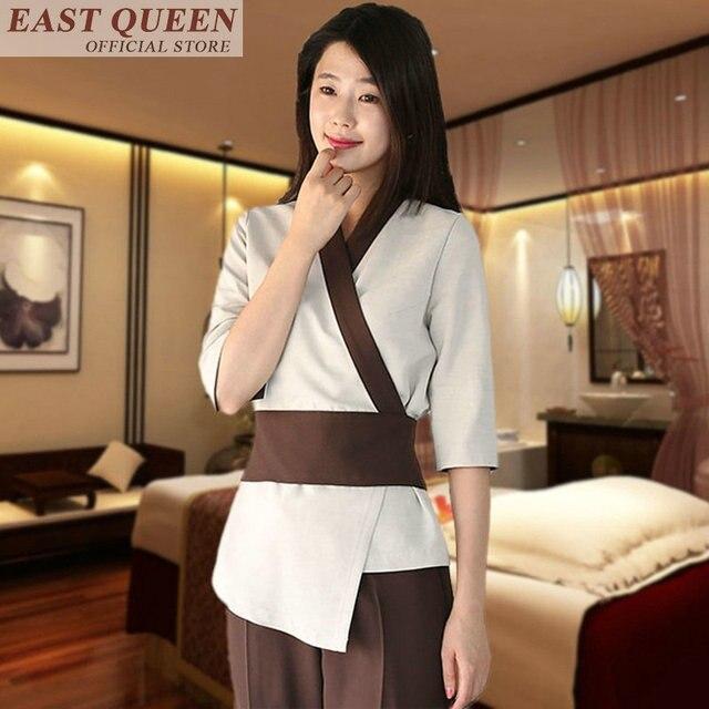 Uniforme para masaje uniformes de camarera, matorrales, salón de spa, conjuntos de belleza para enfermera, esteticista, uniforme para masaje tailandés s FF617 A