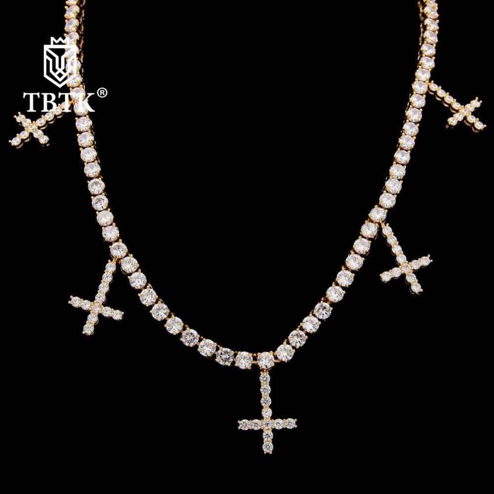 TBTK une rangée Tennis chaîne collier avec cinq croix pendentif pavé clair Zircon pierres de luxe bijoux Punk à la mode Hiphop pour homme