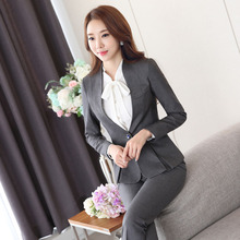 Novelty Grey Fashion Formal Professional Pantsuits With Jackets And Pants for Business Women Pants Suits Ladies Trousers Set
