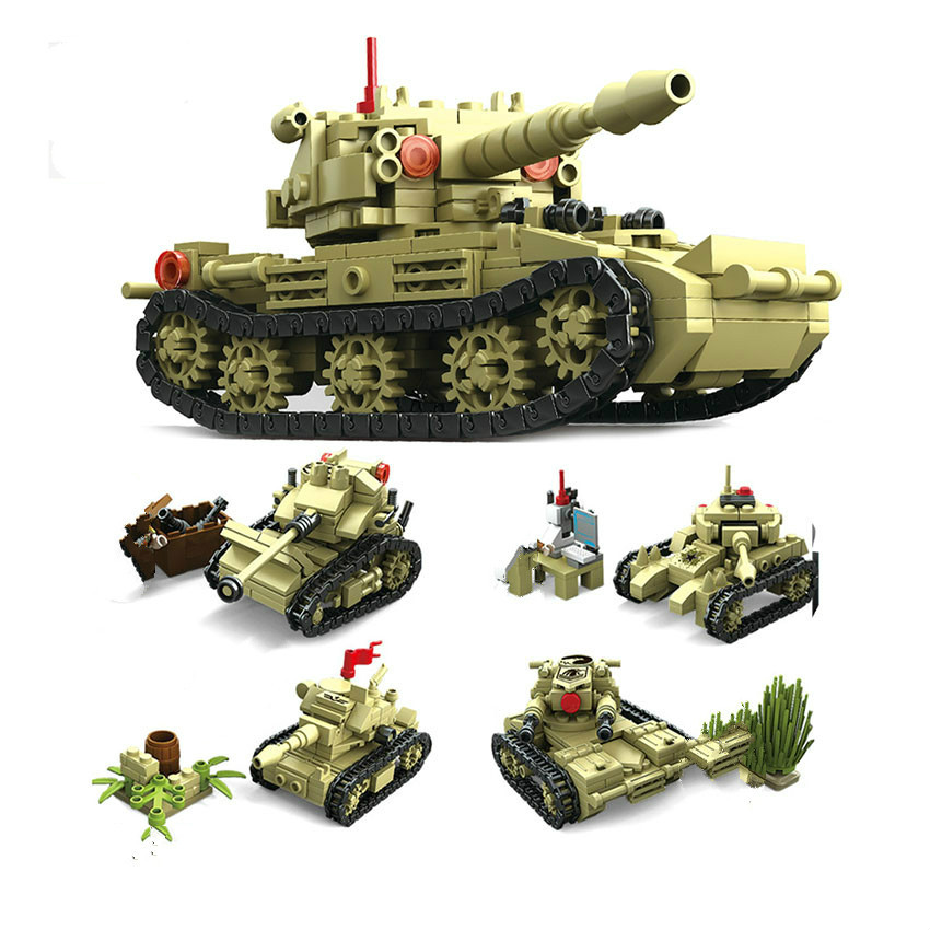 NEW KAZI Toy Army Building Blocks Compatible Lepins City DIY 4 Style World War Tank Weapon Bricks Educational Toy For Children kazi military building blocks diy 16 in 1 world war weapons german tank airplane army bricks toys sets educational toy for kids