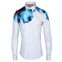 Luxe Heren Overhemden 2017 Merk Ontwerp Digitale Print Shirt mannen Slim Fit Lange Mouw Chemise Homme Casual Camisas Hombre 4XL