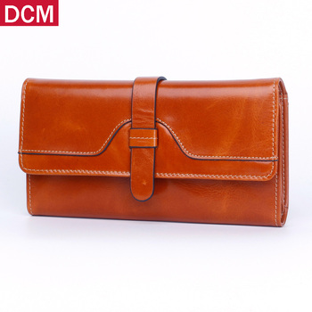 Genuine Leather Women Wallets Brand Design RFID Female Hasp Long Cluth Fashion Purse Card Holder