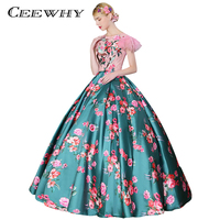 CEEWHY Floral Printed Vintage Embroidery Beaded Dress Ball Gown Evening Dresses Luxury Prom Dress Evening Gown Robe De Soiree