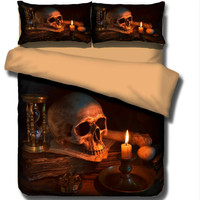 3D Ghost Blow Lamp Human Skeleton Black Skull Death's head Design Twin Queen Bed Sheet Set Bedclothes Duvet Cover Bedding Set