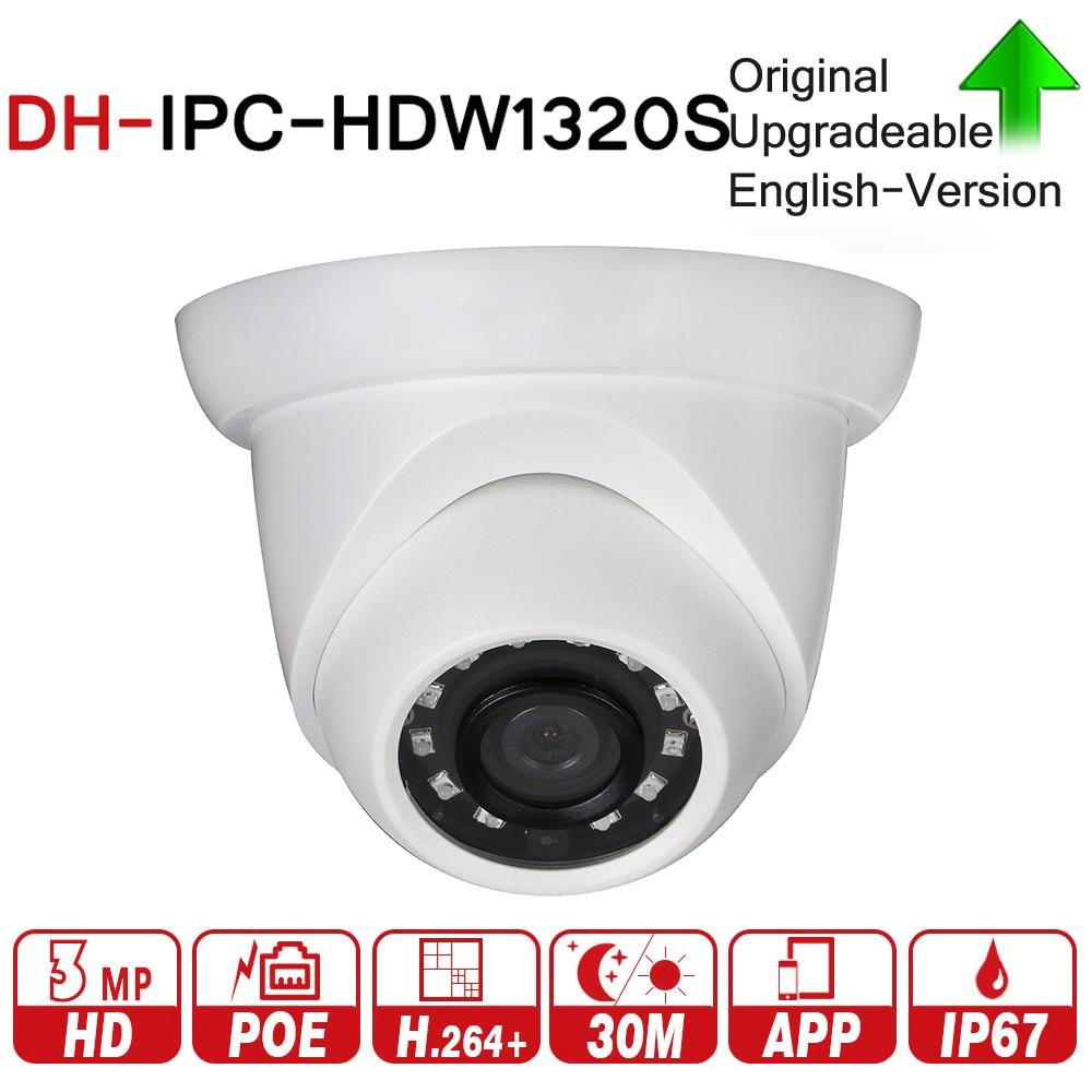цена на DH Original IPC-HDW1320S 3MP Mini Dome IP Camera Day/Night Infrared CCTV Camera Support Update POE IP67 DWDR3 Security Camera