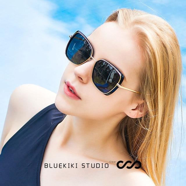 ea0e9798b555ae KIKI 2018 Nouveau Femmes Polarisées lunettes de Soleil En Métal Marque Cat  Eye Lunettes Conduite Steampunk