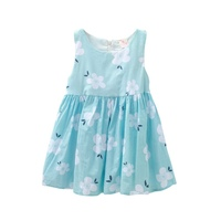Kid Girl Dresses Floral Printed Sleeveless Ball Grown Summer Princess Party Dress K16
