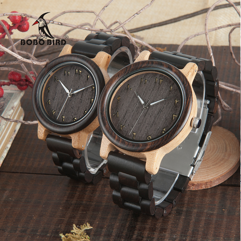 BOBO BIRD L N14 Couple Wooden Watches 100% Natural Wood Watches Men Women Clock Christmas Gift in Case