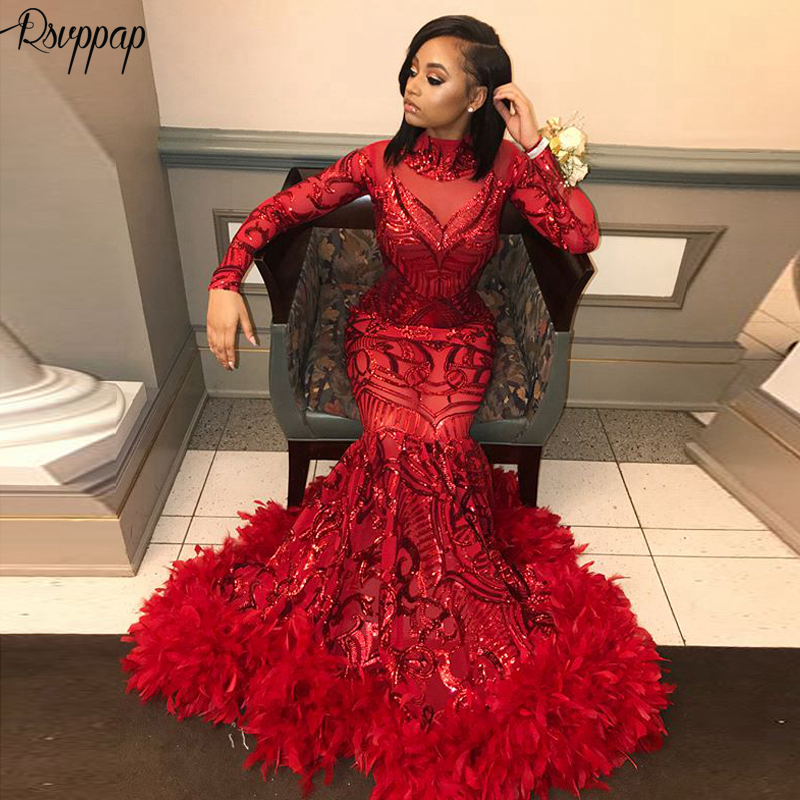 Long Sparkly   Prom     Dresses   2019 Sexy High Neck Long Sleeve Sequin African Black Girl Red Feather   Prom     Dress   Party