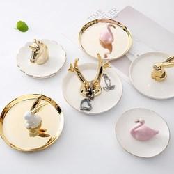 Pequeno flamingo unicórnio abacaxi prato decorativo porcelana jóias prato colar anel bandeja armazenamento trinket prato vaidade