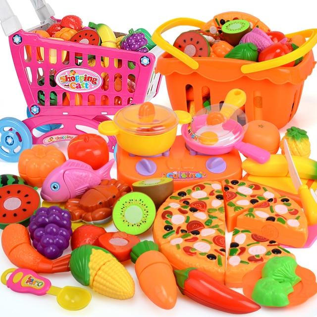 38pcs Kids Kitchen Cut Vegetables Fruit Toys Plastic Food Pizza S Pretend Play Cooking Toy Set