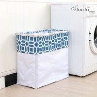 Shushi large foldable laundry basket metal storage home domestic laundry wash bag water proof dirty cloth laundry organizer bag
