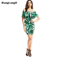 Wangcangli Spring And Summer 2017 Sales New Hot Print Shoulder Lace Short Sleeve Europe And America