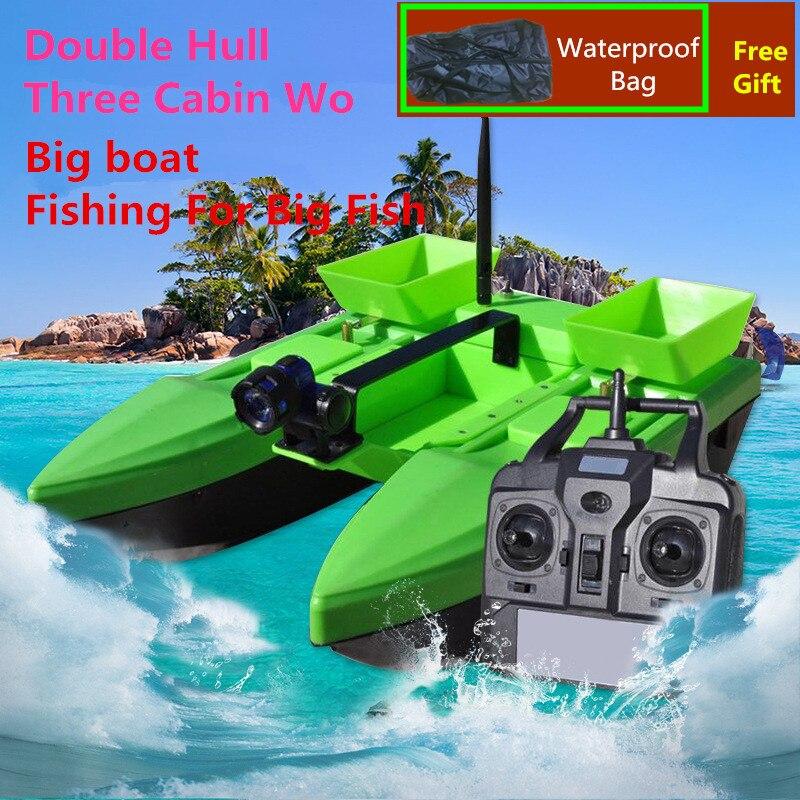 Bateau d'appât RC électrique sac gratuit 500 M 2 KG trois cabines Wo Double coque livraison sans fil crochet d'alimentation Smart RC appât bateau de pêche