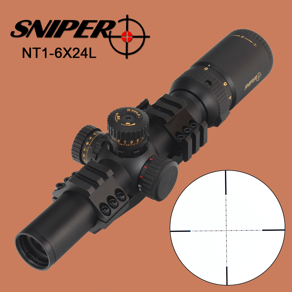 SNIPER NT 1-6X24 L Hunting Compact Riflescope Glass Etched Reticle Tactical Optical Sights Red Green Illuminated Scope for Rifle hot sale tactical sniper 1 25 4x30 red green illuminated rifle scope for hunting bwr 074