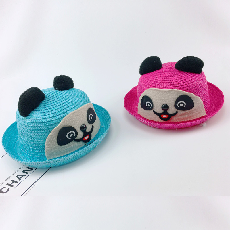 3364774e9d0 Korean Black Bear Straw Hat Male Girl Children Hats Spring Xia Baobao Basin  Cap Lovely Sun Hat Summer Hat-in Hats   Caps from Mother   Kids on ...