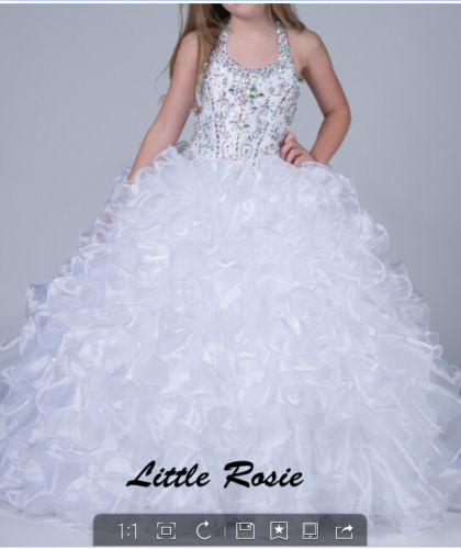 In Stock White Little Rose Flower Girl Dress Girls Princess Dress Prom Gowns Hot in stock layered pre teen party gowns little girls pageant dress pink color