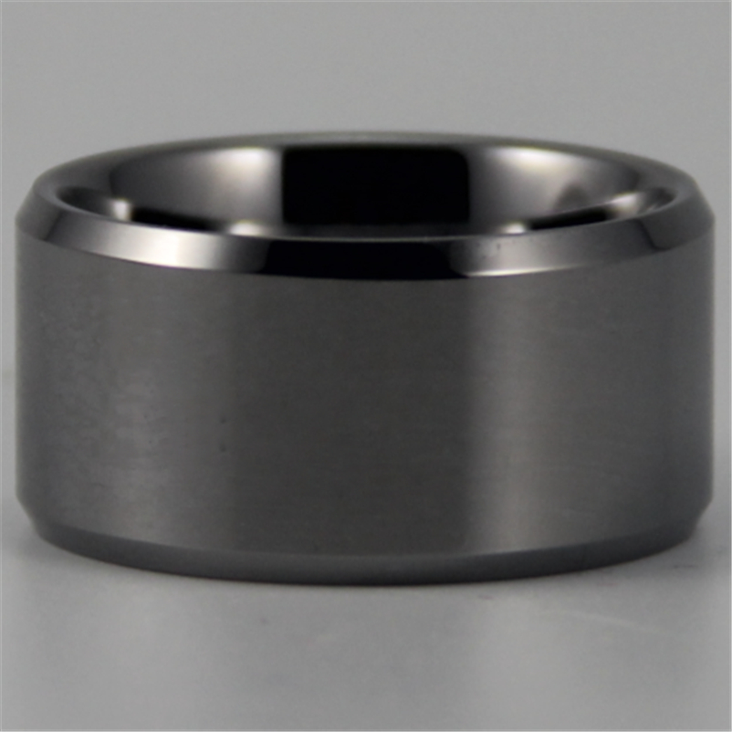 Free Shipping YGK JEWELRY Hot Sales <font><b>12</b></font> <font><b>MM</b></font> Silver Bevel Comfort Men's Fashion Tungsten Wedding Ring image