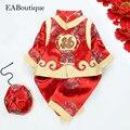 Eaboutique moda tradicional chinesa vestuário belos bordados gragon fu fleece bebê-tang terno snowsuit 3 peça set