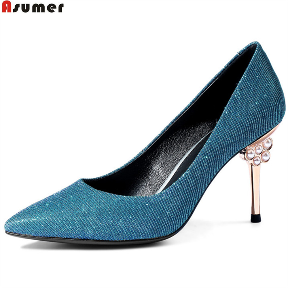 ASUMER blue gun colors pointed toe shallow elegant shoes woman pointed toe thin heel wedding shoes women high heels shoes