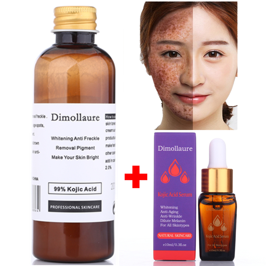 Dimollaure 30g pure Kojic Acid whitening cream+Kojic Acid serum Wrinkle removal Freckle melasma Acne scar pigment melanin cream high quality kojic pow der kojic acid whitening skin in bulk