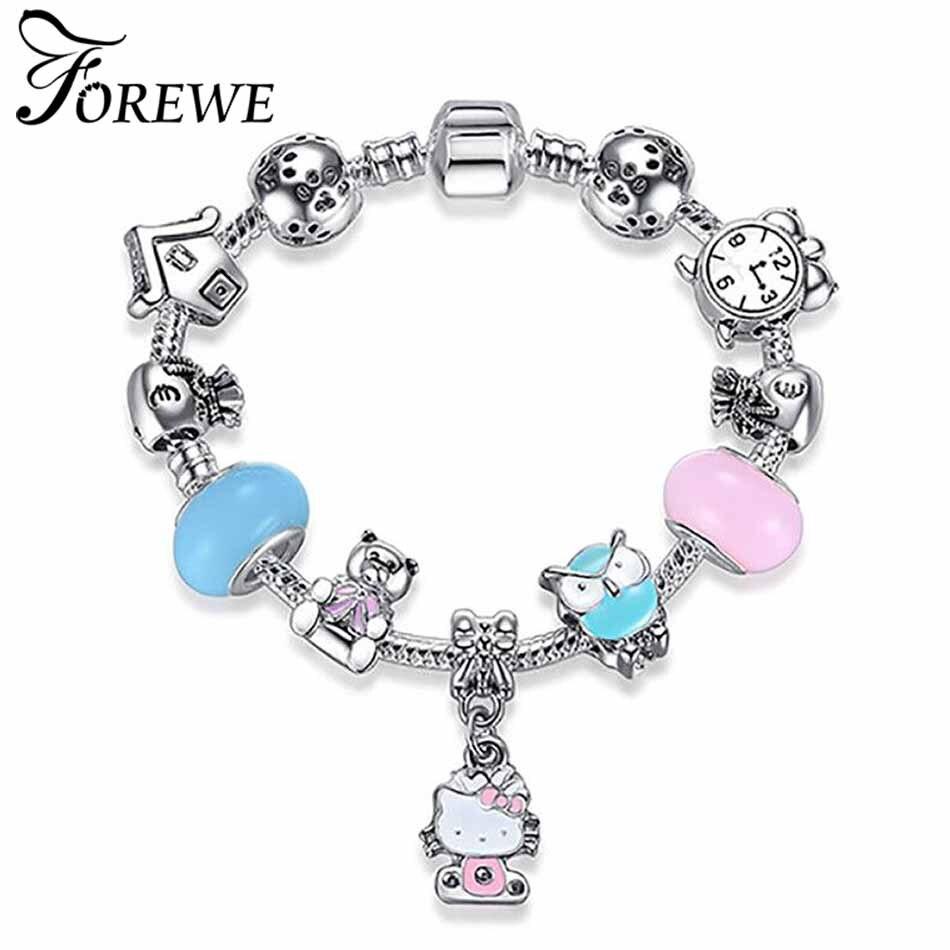 b2fc77851 Detail Feedback Questions about FOREWE 925 Silver Charm Bracelets Cute Cat Hello  Kitty Pink Enamel Murano Glass Beads Bracelet for Women Kids Girls DIY ...