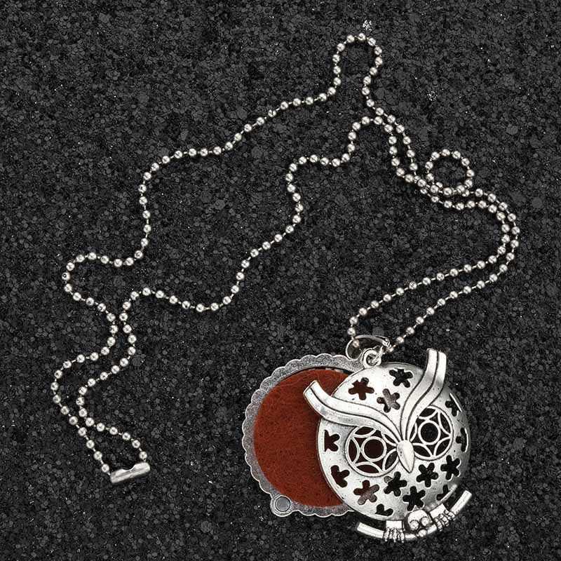 MODKISR оптовая продажа 30 мм Ретро Ночная Сова Магнитная ароматерапия ювелирные изделия с диффузором медальон кулон эфирное масло аромат модное ожерелье