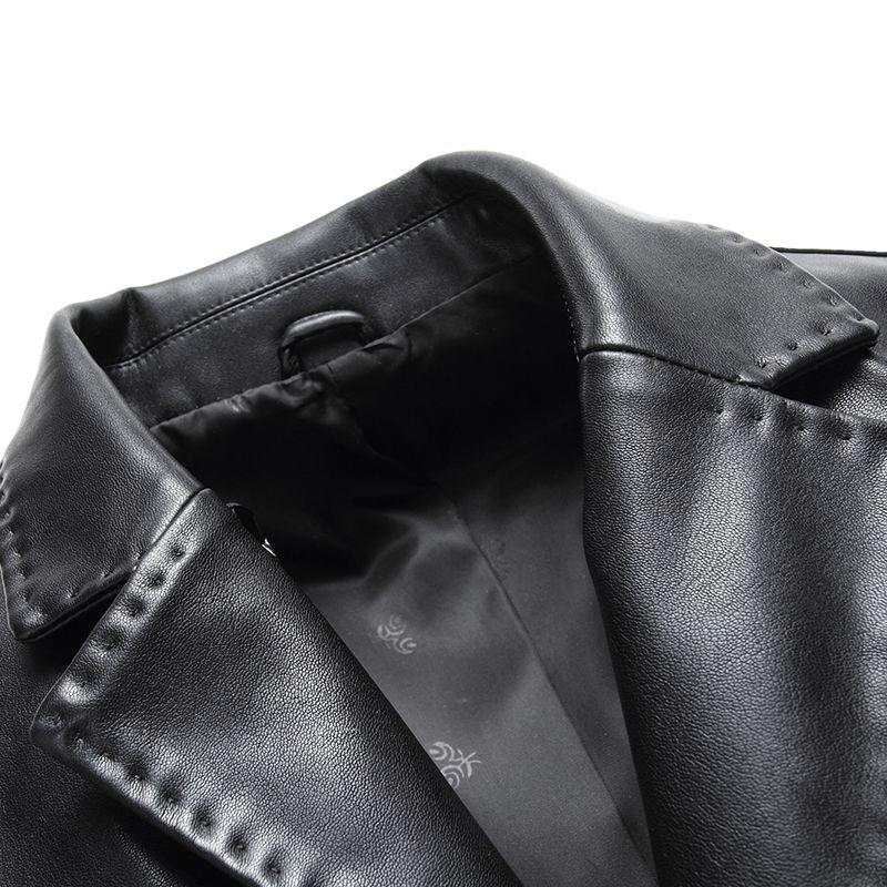 Новинка 2017 года Для мужчин Кожаная куртка Демисезонный Для мужчин мягкие Босоножки из искусственной PU кожи и костюм Бизнес повседневные па...