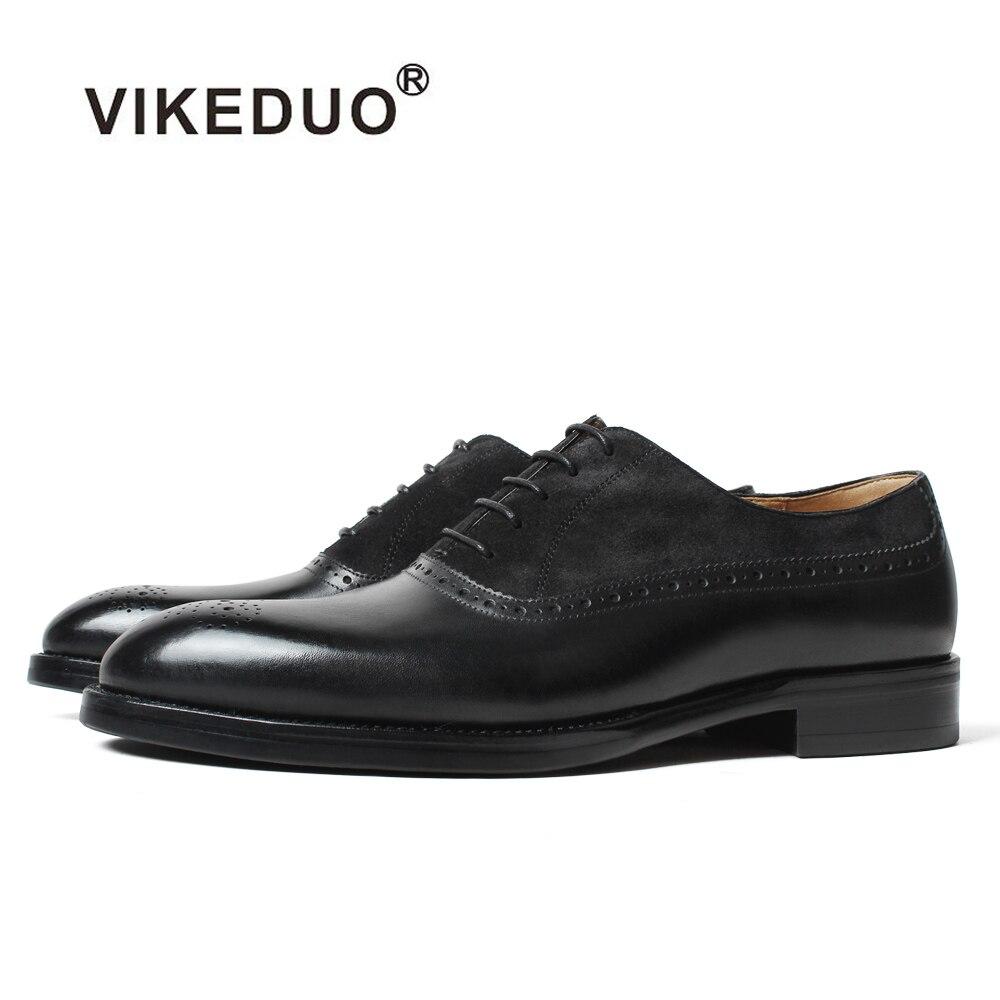 Vikeduo 2019 Handmade markowe buty w stylu Vintage moda czarne zamszowe najnowszy styl męskie sukienka Oxford buty Zapatos w Buty wizytowe od Buty na  Grupa 1
